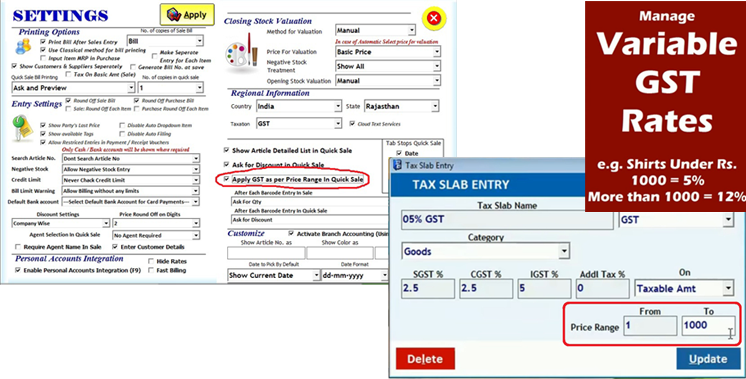 Manage Variable GST Rates